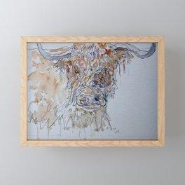 Highland cow line drawing. Framed Mini Art Print