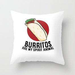 Burritos Are My Spirit Animals Funny Burrito Mexican Burrito Throw Pillow