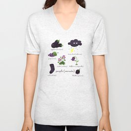 Colors: purple (Los colores: morado) Unisex V-Neck
