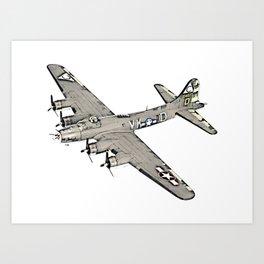 Boeing B-17 Flying Fortress airplane Art Print