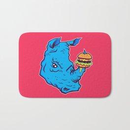 Rhino With A Cheeseburger Bath Mat
