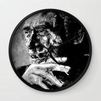 bukowski Wall Clocks featuring Charles Bukowski - black - quote by ARTito