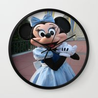 minnie mouse Wall Clocks featuring Minnie Mouse by Jackash14