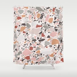 Neutral Terrazzo / Earth Tone Abstraction Shower Curtain