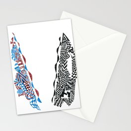 Letter V, Black/Red/Blue Abstract (Ink Drawing) Stationery Cards