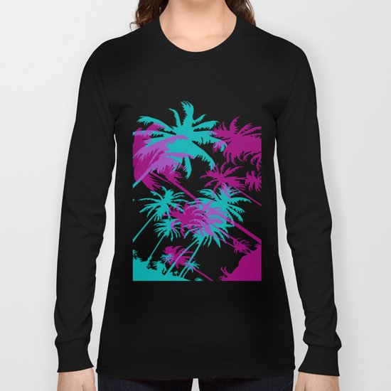 California Palm Trees at Night  Long Sleeve T-shirt