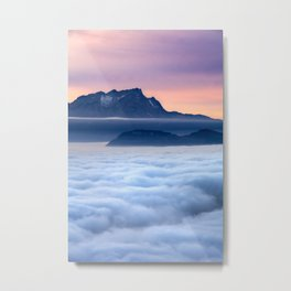 Sea of Fog in the Alps Metal Print