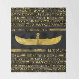 Golden Egyptian God Ornament on black leather Throw Blanket