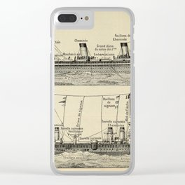 Steam Ship Vintage Scientific Illustration French Language Encyclopedia Lithographs Educational Clear iPhone Case