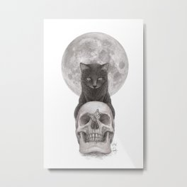 Moon Cat Metal Print