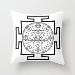 Shri Yantra in black and white Throw Pillow