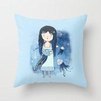 medusa Throw Pillows featuring Medusa by Kristina Sabaite