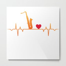 Saxophone Heartbeat Love Gift T-Shirt Metal Print