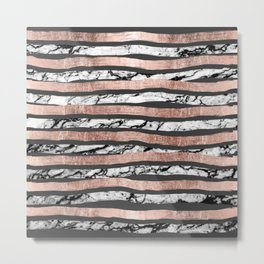 Elegant Black White Marble Rose Gold Brushstrokes Metal Print