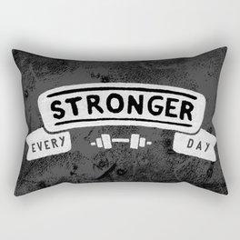 Stronger Every Day (dumbbell, black & white) Rectangular Pillow
