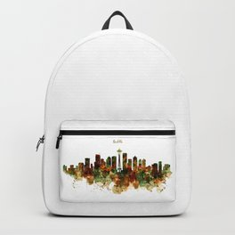 Seattle Watercolor Skyline Poster Backpack