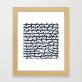 Light Grey Strokes on Blue Grey Framed Art Print