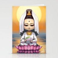 budi satria kwan Stationery Cards featuring Kwan Yin  by Lurraeh Somohano
