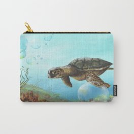 Green sea turtle swimming in ocean Carry-All Pouch