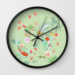 Watergarden with koi - green Wall Clock