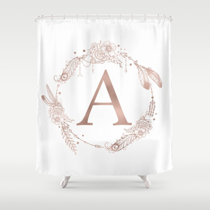 Letter A Rose Gold Pink Initial Monogram Shower Curtain By