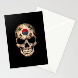 Dark Skull with Flag of South Korea Stationery Cards