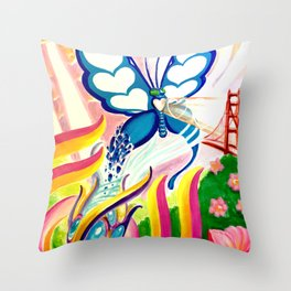 """SF Butterfly"" by Adam France Throw Pillow"