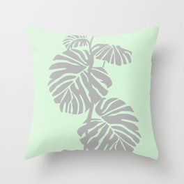 Silver Leaves in Green Throw Pillow