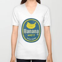 sticker V-neck T-shirts featuring Banana Sticker On Blue by Karolis Butenas