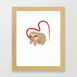 Dear Valentine's Day Sloth Sweet Cute Gift Framed Art Print