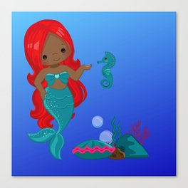 Crimson | Black Mermaids | Black Girl Mermaids| African-American Mermaid | Afro Canvas Print