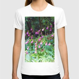 Wild Orchid Lady Slipper Forest Flowers Found in Rhode Island T-shirt