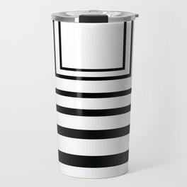 Concentric Squares Black and White Travel Mug