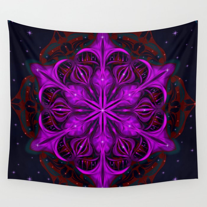 Spaceborne Orchid Snowflake Wall Tapestry