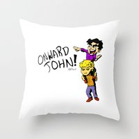 onward Throw Pillows featuring Onward John! by Rebekah Kroeplin
