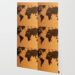 The Wooden World Map (Color) Wallpaper
