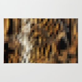 Abstract Brown Textured Geometric Squares Pattern Rug