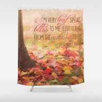 poem Shower Curtains featuring Autumn Leaves Poem by Graphic Tabby