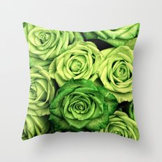 Green Roses Throw Pillow