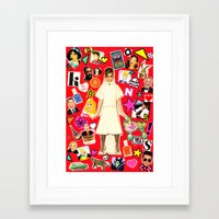 cara Framed Art Prints featuring Cara by Neon Wonderland