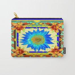 Blue Floral Southwest Deco Style Design Carry-All Pouch