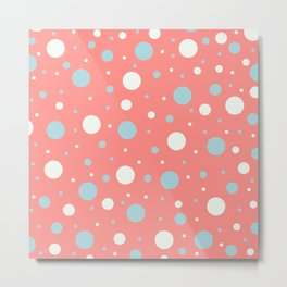 Coral and Blue Dots   Metal Print