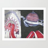 Turtle Planet, Shark Planet Art Print