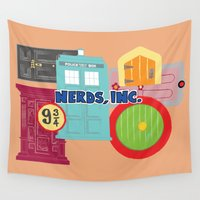 monster inc Wall Tapestries featuring Nerds Inc by Lacey Simpson
