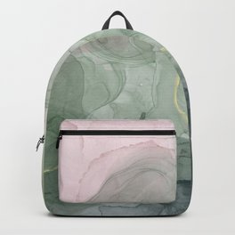Abstract ink art in Pink and Green Backpack