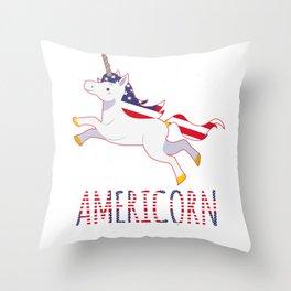 Unicorn USA America Americorn fun gift Throw Pillow