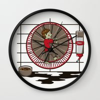 hamster Wall Clocks featuring Hamster Zombie by le.duc