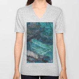 Cerulean Blue Marble Unisex V-Neck