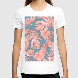 Island Life Coral on Deep Teal Blue T-shirt