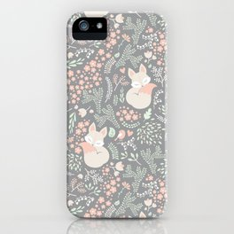 Sleeping Fox - grey pattern design iPhone Case